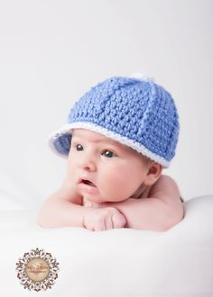 Crochet Baby Hat - Baby Baseball Cap. via Etsy.
