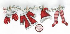 Holiday Clothesline - Cross Stitch Pattern - 123Stitch.com