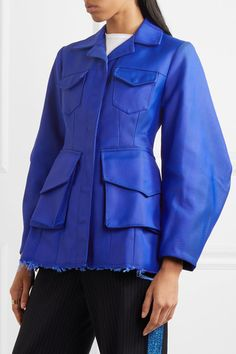Marques' Almeida - Frayed Twill Jacket - Cobalt blue