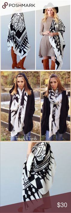 "Tribal Print Blanket Scarf BLACK AND WHITE BOHO CHIC TRIBAL PATTERN BORDER PRINT THICK AND SOFT OVERSIZE SUQARE SCARF/BLANKET SCARF, Cape/Poncho 100% ACRYLIC 55"" X 55"".                 Search ID # chunky knit long infinity cowl neck scarf Accessories Scarves & Wraps"