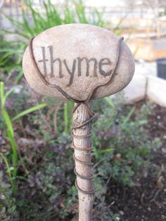 Rustic Organic Plant Herb Garden Marker Sign  Hand by TheFirstKiss