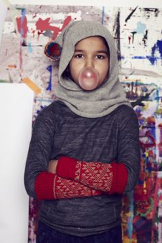 New look balaclava hood with pom poms at Cabbages and Kings for fall/winter 2014 kidswear