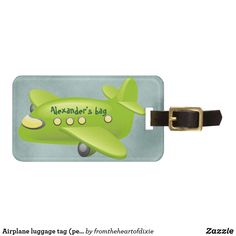 Shop Airplane luggage tag (personalize) created by fromtheheartofdixie. Personalize it with photos & text or purchase as is! Personalized Luggage Tags, Custom Luggage Tags, Blue Flip Flops, Kids Luggage, Luggage Straps, Standard Business Card Size, Leather Luggage, Travel Gifts, Airplanes