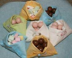 baby shower snacks in a napkin