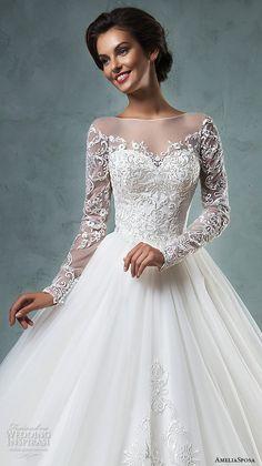 illusion bateau neckline long sleeves embroideried bodice a line ball gown wedding dress sierra