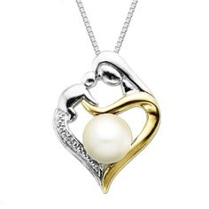 """Sterling Silver and 14k Gold Freshwater Cultured Pearl  Heart Mom Pendant Necklace, 18""""  $99.00"""
