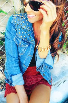 Looking For A Stud Denim Jacket  Such a CUTE picture. <3 and adorable outfit.