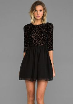 BB DAKOTA Corella Chiffon Long Sleeve Dress in Black - Dresses