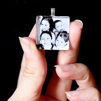 Photo Pendant- how cute hanging from your tote bag. Instructions to use a glass tile, hook, chain, photo printed on paper, diamond glaze, small paintbrush, & superglue.