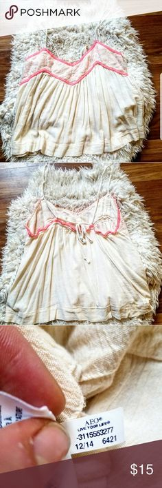 AE Hot Pink and Cream Baby Doll Tank 🌟 Small 🌟Cute flowy top with adjustable straps. Braided cloth tie.  Chest 18 inches across and 16 inches long. 🌟Bundle for private discounts. American Eagle Outfitters Tops Tank Tops