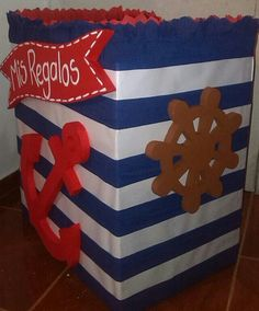 Caja de regalos estilo marinero Sailor Birthday, Sailor Party, Baby Birthday, Regalo Baby Shower, Baby Boy Shower, Baby Shower Marinero, Sailor Baby Showers, Baby Shawer, Nautical Party