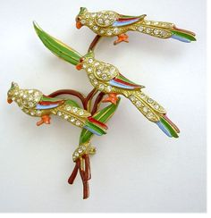 Staret Rarest Parrots on a Branch Tremblar Pin: Book Pc. from bellstarvintage on Ruby Lane..
