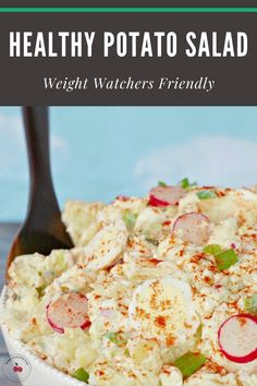 This Healthy Classic Potato Salad is easy to make and chock-full of healthy ingredients like potatoes, eggs and vegetables. It's made with light/low-fat mayonnaise to lower the calories, fat and Weight Watchers points. It's 5 WW points on the blue plan per serving! #wwrecipes #potatosalad #easy #lowfat #healthy #healthysalad #summer #picnic Potluck Recipes, Side Recipes, Healthy Salad Recipes, Summer Recipes, Vegetarian Recipes, Healthy Food, Dinner Recipes, Grilled Chicken Ceasar Salad, Classic Potato Salad