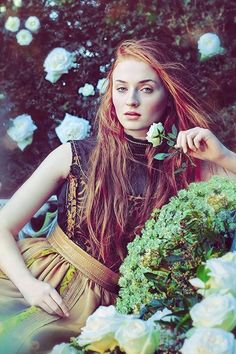 La Femme Fleur — Sophie Turner for Town and Country Magazine