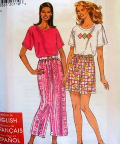 SIMPLICITY SEWING PATTERN - 7578 - XS-XL TOP PANTS SHORTS