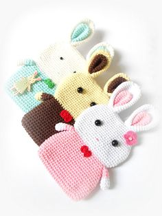 Bunny Phonecase Coin Pouch PINK White 7x12cm Amigurumi by Chieu