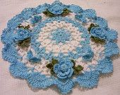 crocheted doily hand dyed turquoise blue and white flowers and butterflies home decor handmade in USA original design