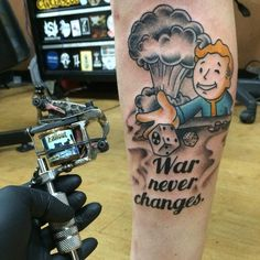 Browse of Tattoo Art Designs. See Authentic, Unique, High Quality Tattoos. Get Inspiration for the Perfect Tattoo! Gamer Tattoos, Boy Tattoos, Cute Tattoos, Sleeve Tattoos, Fallout 4 Tattoos, Capricorn Tattoo, Sagittarius, Change Tattoo, Stone Tattoo