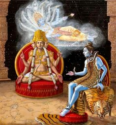 Vishnu, Shiva, And Brahma Wood Print by Dominique Amendola Shiva Art, Krishna Art, Hindu Art, Shiva Shakti, Rudra Shiva, Krishna Leela, Shiva Hindu, Hindu Deities, Radhe Krishna