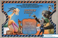 Disney Zootopia Vintage Movie Ticket Birthday Invitation - Zootopia Movie digital Invitation