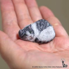 From simple rocks, Akie Nakata gives life to small animals. Thanks to acrylic gouache and meticulous work, the Japanese artist transforms stones into art. Painted Rock Animals, Painted Rocks Craft, Hand Painted Rocks, Pebble Painting, Pebble Art, Stone Painting, Rock Painting Patterns, Rock Painting Designs, Stone Crafts