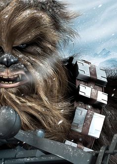 Chewbacca Hoth Encounter Hand-Embellished Giclee on Small Canvas