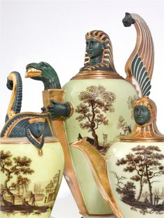 A Paris (Nast) tea and coffee service, circa 1810-15 painted with vignettes of figures in landscapes en grisaille reserved on a pale-yellow ground, the forms in Egyptian taste with wing-form handles and sphinx mask terminals in matt-green, comprising a coffee pot and cover, teapot and cover, milk jug, sugar bowl, waste bowl, and eight coffee cans and saucers, printed iron-red and gilded NAST/ à / Paris marks,