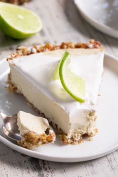 This key lime paleo and vegan cheesecake is creamy, sweet/tart and couldn't be easier to make!  It's the perfect healthy dessert to serve to a crowd!