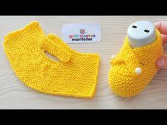 Very easy newborn baby knitting booties socks pattern - fatoş patik Baby Hats Knitting, Sweater Knitting Patterns, Knitting For Kids, Knitting Socks, Knitted Booties, Crochet Baby Booties, Crochet Slippers, Knitted Hats, Baby Slippers
