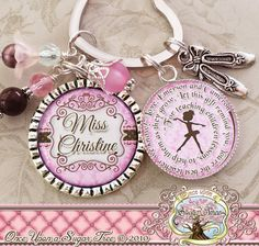 Ballet Teacher Gift, Dance Teacher Key chain, Inspirational Quote, Thank You Gift, Teacher Appreciation, Ballet Slippers, Dance Recital Gift