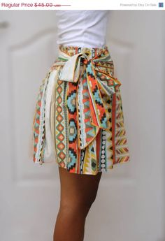 Colorful Tribal Orange Mini Skirt