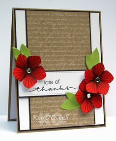"""Simon Says Stamp """"Thanks"""" and MFT Romantic Script Background by Kim O'Connell"""