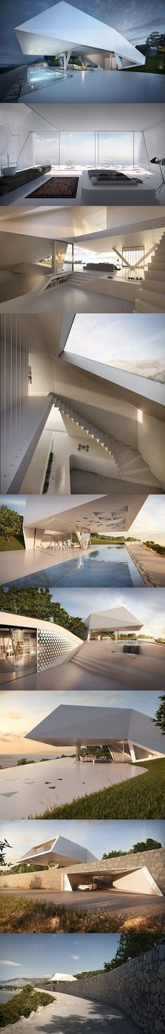 This is not a spaceship, just a futuristic home. Created by Hornung and Jacobi Architecture of Germany, this residence appears to be an extruded prism with a ground level pool that recedes down a steep slope to showcase a unique staircase and sunken spaces all with amazing ocean views from Rhodes, Greece.