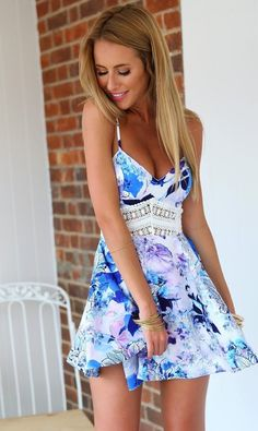 Blue Floral Patchwork Spaghetti Straps Wave Pattern Homecoming Beach Party Casual Lace Dress - Dresses