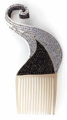 1930 Bakelite and Crystal Hair Comb.