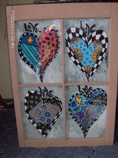 Wyoming Chick Junky to Funky Object Art - Whimsical painted vintage windows