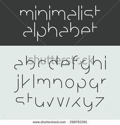 Minimalist alphabet lower case letters. Font design, vector. - stock vector