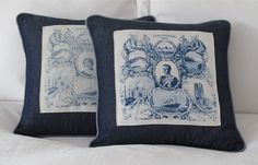 Vintage Royal Pillow made with an Original Coronation Scarf. $95.00, via Etsy.