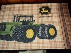 John Deere Farm Tractor Plaid Pillowcase Standard Size Cotton Men's Bed Linen