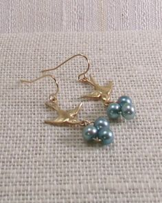 Birds Nest Earrings with Blue Freshwater Pearls by MatriarchbyFP