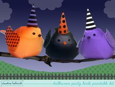 halloween party birds - centerpiece decorations and whimsical ornaments, - printable PDF - INSTANT download $4.99