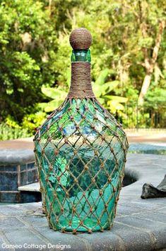 ΚΑΤΑΣΚΕΥΕΣ: Βάζα-Μπουκάλια διακοσμημένα με ΔΙΧΤΥ από ΣΚΟΙΝΙ | ΣΟΥΛΟΥΠΩΣΕ ΤΟ