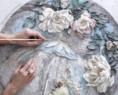 Evgenia Ermilova's photos Plant Painting, Sculpture Painting, Ceramic Painting, Plaster Crafts, Plaster Art, Cold Porcelain Flowers, Tile Art, Texture Painting, Clay Art