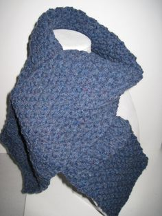 Items similar to Hand Knitted Blue Heather Moss-Stitch Scarf on Etsy Heather Moss, Moss Stitch, Free Knitting, Yarns, Blue, Etsy, Shopping