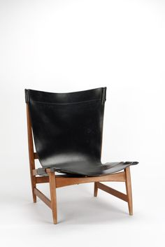 Franz Xaver Lutz; #1191 Oak and Leather 'Chimney' Lounge Chair for WK Verband, 1958.