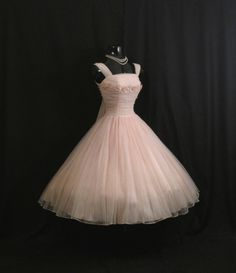 Vintage 1950's 50s Bombshell PINK Ruched Chiffon Daisies Rhinestones Organza Party Prom Wedding Dress Gown
