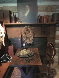 Prim dining room.. Primitive Living Room, Primitive Homes, Primitive Kitchen, Primitive Furniture, Primitive Antiques, Primitive Decor, Primitive Country, Colonial Furniture, Antique Furniture