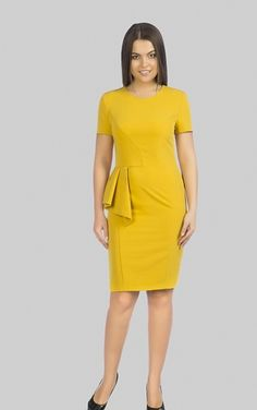 Купить желтое платье с оригинальной баской в интернет-магазине (цвет: желтый) | ВЕЛ-М-211К-01
