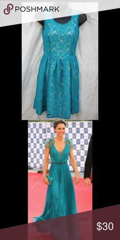 French connection lace dress.  Reminds me of Kate! Beautiful teal lace dress from French connection.  Reminds me of the teal color Kate Middleton wore.  Perfect condition. French Connection Dresses