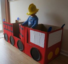 Fire engine party cardboard fire engine - still good the morning after. And the morning after that... :)